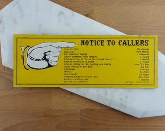 Notice to Callers, Vintage Office Sign, Office Decor, Funny Retro Sign, Hunting & Fishing