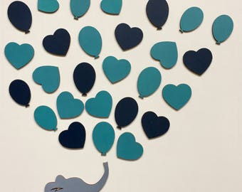 Baby Shower Guest Books Alternative Elephant With Heart Balloons 3D Baby Shower Guestbook Unique Sign In Nursery Decor Baby Name Baptism