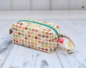 Tiny Donuts fabric Small boxy bag, Knitting Boxy Project Bag, Box Bag, Knitting Project Bag. Sock Knitting bag. Crochet bag,zippered box bag