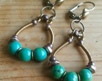 Boho hoop earrings with antique turquoise beads