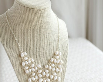 SALE Freshwater Pearl Necklace, Bridal Jewelry Lace Pearls, Pearl Wedding Necklace, Pearl Bib Necklace, Wedding Jewelry, Elegant Necklace