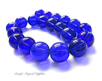 RESERVED for GINA Dark Blue Beads 10mm Glass Beads, Cobalt Royal Blue Indigo, Midnight Blue Round Beads - 20 Pieces 8 Inch Strand  SP771