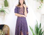 Vintage Indian Cotton Dress, Block print off-shoulder Handkerchief hem Bohemian Gypsy dress, Medium 3835