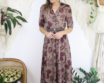 70s Summer Knit Midi Dress, Burgundy butterflies Lightweight knitted Swing dress Day dress Japanese vintage, XS 3652