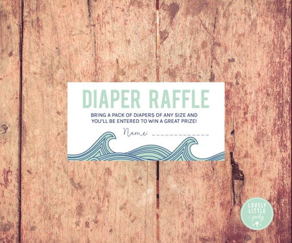 Printable Diaper Raffle Cards- Waves theme - Ocean theme diaper raffle - LOVELY LITTLE PARTY