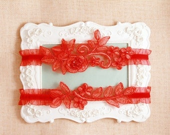 Wedding Garter Set Bridal Garter Set - Red Garter Lace Garter Prom Garter - Wedding Garters Lace Garters