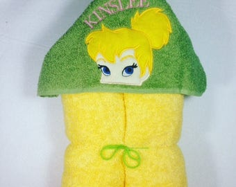 Tinkerbell, Tinkerbell Hooded Bath Towel, Hooded Kids Towel, Hooded Tinkerbell,  Kids Towel, Fairy, Fairy Princess, Personalized Kids Gift