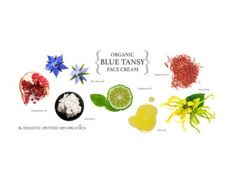 Organic BLUE TANSY Face Cream Face Balm Plant Based Moisturizer. 2.5 OZ