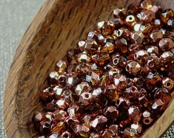 Smoke Topaz 4mm Beads (50) Czech Fire Polished Copper Faceted Glass 1/2 coated 4mm beads