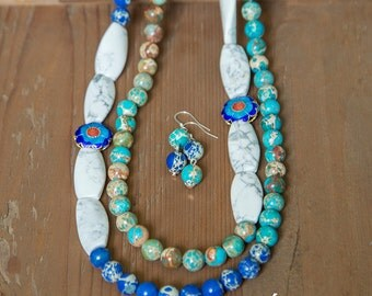 Cute two strand necklace with white howlite, round blue, turquoise imperial jasper, beautiful statement blue white necklace, stone necklace