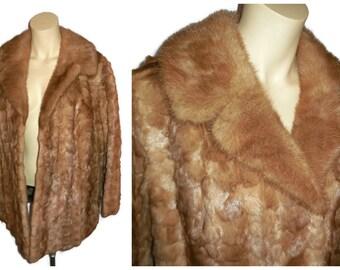 Vintage Mink Coat 1950s 60s Light Brown Mink Fur Jacket Shorn Mink Fluffy Mink Collar Glamour Unique Patterns Satin Lined M L