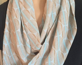 Blue and Taupe Dot Infinity Scarf/Fashion Scarf