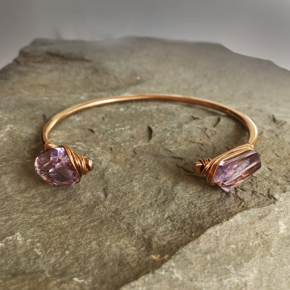 Stevie Cuff Bracelet in Bronze and Amethyst