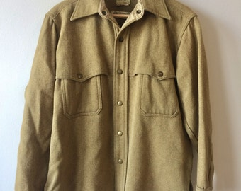 Vintage 60s Mustard Yellow Wool Jacket Shirt Mens Large