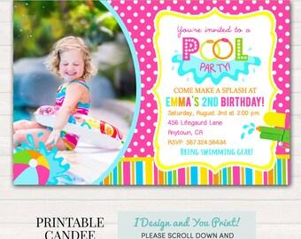 Girl Pool Party Birthday Invitation - Pool Birthday - Summer Birthday - Pool Party Invite - DIY Custom Printable