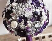purple button brooch bouquet, rhinestone bouquet, Vintage, retro, brooch bridal bouquet, floral, flower wedding posy, brides brooch bouquet