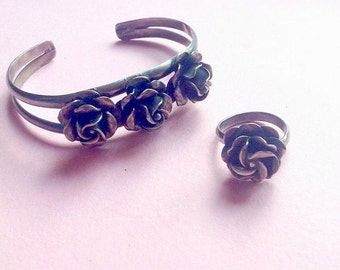 FREE SHIPPING Sterling Silver Rose Ring and Bracelet Jewelry Set, adjustable ring, bangle cuff bracelet, roses, made in Mexico, Greece