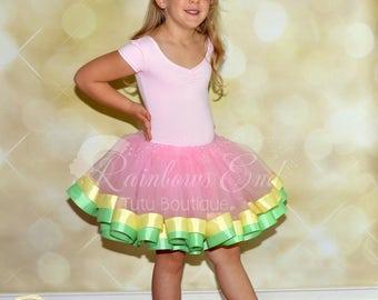 Pink, Yellow and Mint Ribbon Trimmed Tutu, Easter Tutu, Birthday Tutu, Pageant Tutu, Toddler Tutu, First Birthday Outfit, Cake Smash