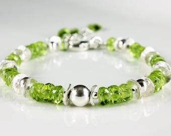 Peridot Bracelet, Sterling Silver Bracelet, Statement bracelet, fine bracelet with green gemstone, elegant bracelet, gift for her, BR2523