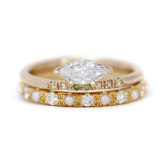 like this item - Pearl Wedding Ring Sets