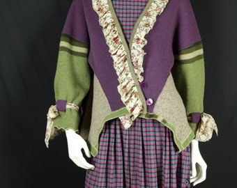 Up cycled purple wool sweater Mori girl clothing Art wear mixed color block top Ruffled boho knit cardigan Country chic artsy wrap jacket L