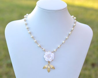 White Rose and Leaves Centered Necklace. Full strand Pearls with Flower Necklace. Bridal Flower Necklace .KATE