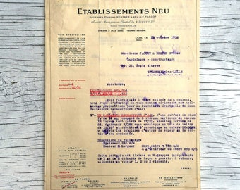 French industrial ephemera from Lille. Etablissements Neu letter, 1932. Collectable ephemera.