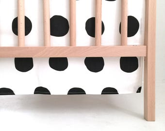 Crib Skirt Jumbo Black Dots. Baby Bedding. Crib Bedding. Crib Skirt Boy. Baby Boy Nursery. Black Dot Crib Skirt. Black Crib Skirt.