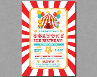 Circus birthday Invitation carnival teal aqua red MB81 Digital or Printed