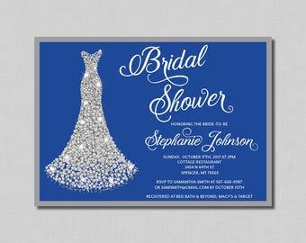Royal Blue Silver Bridal Shower Invitation diamond wedding gown Bethany BR13 Digital or Printed