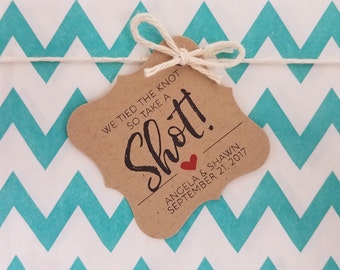 Wedding Gift Tags - We Tied The Knot Take a Shot - Customizable Personalized (WT1709)