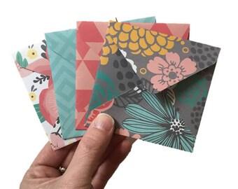 Set of 4 // Mini Square Envelopes // Mini Envelopes // Square Envelopes / Floral Envelopes / Floral Stationery / Gift Envelopes / Mini Cards