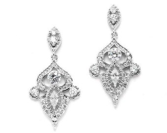 Vintage Dangle Bridal Statement Earrings with Cubic Zirconia FREE DOMESTIC SHIPPING