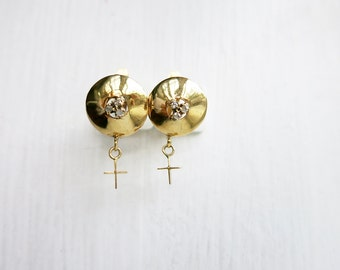 Vintage 10K Gold Round Earrings with Tiny Diamonds and Cross
