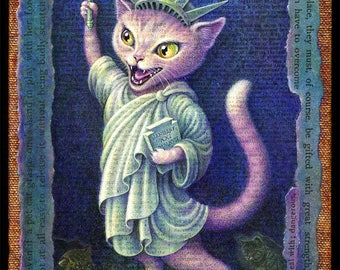 Political cat art print, Nasty Nation: pink pussycat in Lady Liberty costume, anti-Trump, pussy grabs back, women's march, nasty woman art