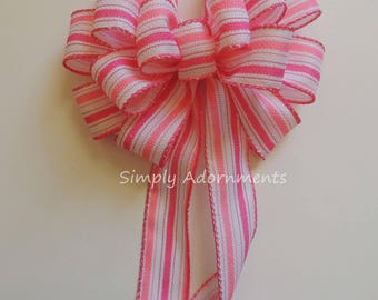 Pink 1st Birthday Party Decor Pink White Baby Shower decor White Pink Stripes Theme Party Bow Pink Baby Shower Party Decoration Gifts Bow