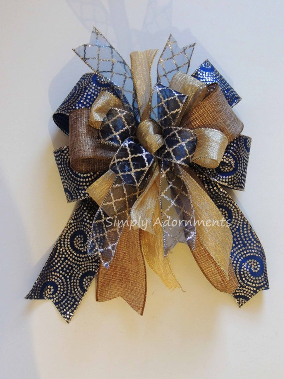 Whimsical Navy Gold Christmas Bow Funky Navy Gold Gift Bow Navy Gold Christmas Tree Topper Bow Christmas Lantern Bow Christmas Wreath Bow