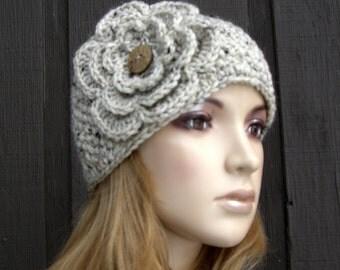 Knit Head Wrap Headband Earwarmer Oatmeal Tweed Winter with Crochet Flower and Coconut Buttons