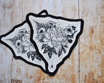 Hand Made, Screen Printed Fabric Patch, Web and Flowers Patch, Alternative Apparel, Nature Patch
