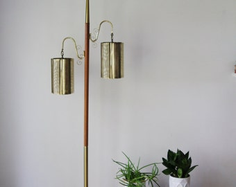 Mid Century Modern Floor Pole Lamp Brass & Wood