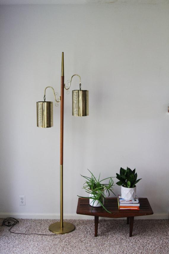 Mid Century Modern Floor Pole Lamp Brass & Wood