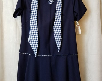 Deadstock L XL XXL Extra Large Volup Plus Size Vintage 60s Blue White Short Sleeve Mod Modette Classic Party Maternity Dress Issues