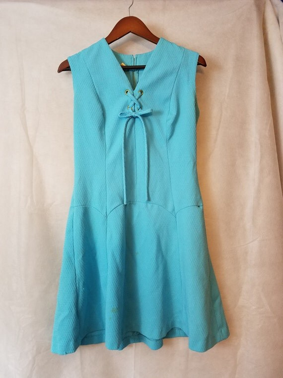 XL Extra Large Plus Size Vintage 60s Turquoise Blue Fit and Flare Drop Waist Summer Preppy Scooter Spring Lace-Up Dress Sundress