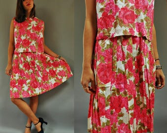 1960s Pink Floral Cropped Blouse and Skirt Two Piece Co-Ord Set