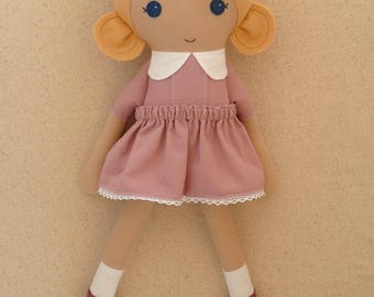 Fabric Doll Rag Doll Blond Blond Haired Girl in Classic Mauve Dress with Maryjanes