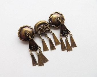 Vintage Folk Brooch with Fringes Baltic National Costume Accessory Bronze Pin Jewelry Vintage 80s