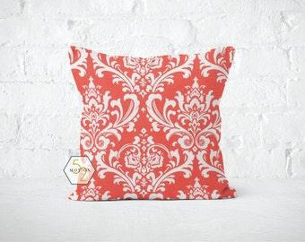 Coral Damask Pillow Cover - Osborne Coral - Lumbar 12 14 16 18 20 22 24 26 Euro - Hidden Zipper Closure