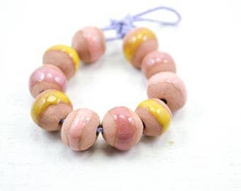 10 Handcrafted Ceramic Beads - Pastel - Unique Assortment - Earthy - Striped- Handmade - Round- Pottery beads - Brownstone - Bead Set Y454