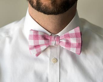 Self-Tie Pink Gingham Checks Bow Tie, Untied Freestyle Bowties Bow Ties Necktie Men Tuxedo Wedding Formal