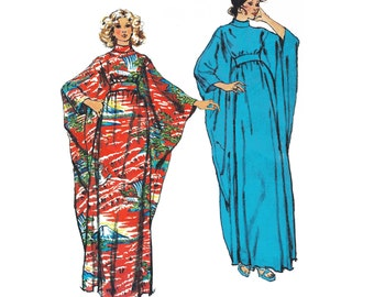 """1973 Vintage Very Loose Fitting Caftan Gathered to Midriff, Wide Kimino Sleeve, Roll Collar, Simplicity 5900, One sz Bust 32 1/2""""-38"""", Uncut"""